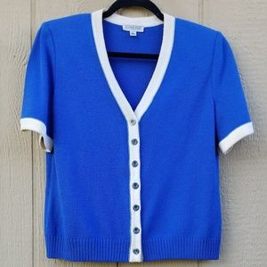 St.John Sport Blue Short Sleeve Button Cardigan M